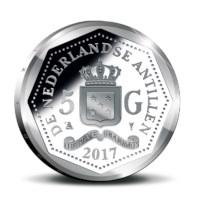 5 guilders Curaçao and Saint Martin King Willem-Alexander 2017 Silver Proof