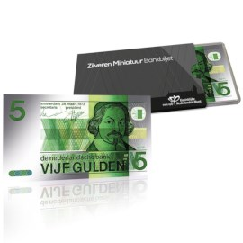 Silver Miniature Banknote 5 Guilders Joost van den Vondel