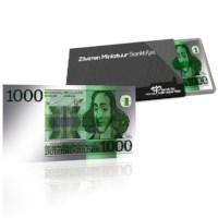 Zilveren Miniatuur Bankbiljet 1000 Gulden