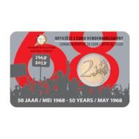 Pièce de 2 euros Belgique 2018 « 50 ans mai 1968 » BU dans une coincard FR