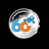 "Belgium 5 Euro ""The Smurfs 60 Years"" colored 2018"