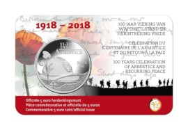 "Belgium 5 euro ""100 years celebration of armistice"""
