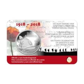 """België 5 Euro """"100 jaar Wapenstilstand"""" 2018"""
