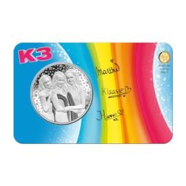 La médaille K3 de Belgique 2018 BU dans une coincard