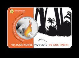 Pièce de 5 euros Belgique 2019  « 90 ans Tintin » en COULEUR BU dans une coincard
