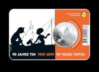 5 euromunt België 2019 '90 jaar Kuifje' in KLEUR BU in coincard