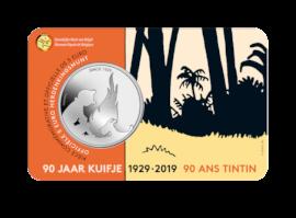 Pièce de 5 euros Belgique 2019  « 90 ans Tintin » en RELIEF BU dans une coincard