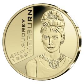 Pièce commémorative Belgique 2019 de 25 euros « Audrey Hepburn » Belle-épreuve Or dans son étui.