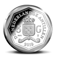 Curaçao and Saint Martin 5 Guilder Silver Proof 65 years Heritage Foundation