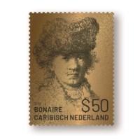 Bonaire Gold Stamp Royal PostNL Rembrandt van Rijn