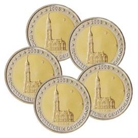 """Duitsland 2 Euro Set """"Hamburg"""" 2008 UNC"""