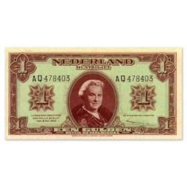 """1 Gulden """"Wilhelmina"""" 1945 ZF+"""
