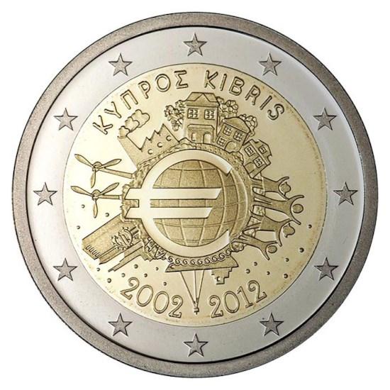 """Cyprus 2 Euro """"10 Jaar Euro"""" 2012"""