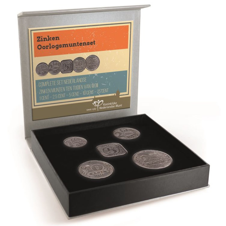 Netherlands 1942-5 Cents Zinc Coin German Occupation WWII mintage