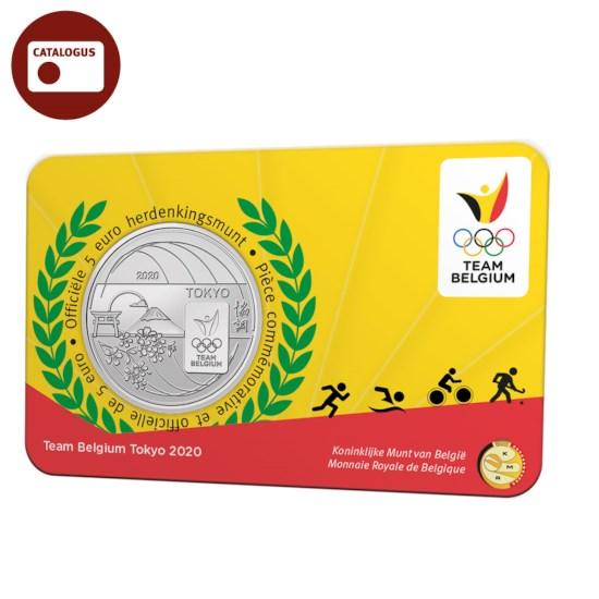 Pièce de 5 euros Belgique 2020 « Team Belgium » en relief BU dans une coincard