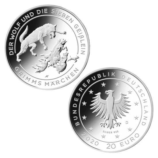 Allemagne 20 euros « Le Loup et les Sept Chevreaux » 2020