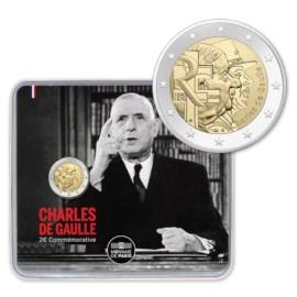 """France 2 Euro """"De Gaulle"""" 2020 BU Coincard"""
