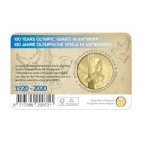Pièce de 2,5 euros Belgique 2020 « 100 ans des Jeux Olympiques Anvers » en COULEUR BU dans une coincard
