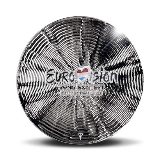 65 jaar Eurovisie Songfestival Penning Zilver 1 Ounce met kleur