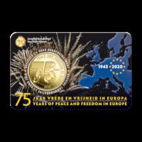 Pièce de 2,5 euros Belgique 2020 « 75 ans de paix et de liberté en Europe » BU dans une coincard - NL