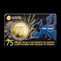 Pièce  de 2,5 euros Belgique 2020 « 75 ans de paix et de liberté en Europe » BU dans une coincard – FR