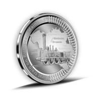 5 euromunt België 2020 '185 jaar eerste trein op het Europese vasteland' Zilver Proof multiview