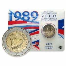"Slovakia 2 Euro ""Velvet Revolution"" 2009 BU Coincard"