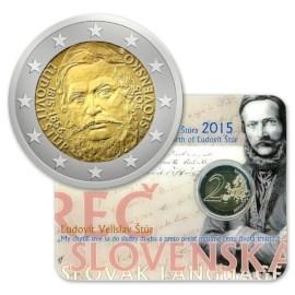 """Slowakije 2 Euro """"Ludovít Štúr"""" 2015 BU Coincard"""