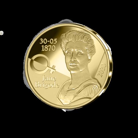 12,5 euromunt België 2020 '150ste verjaardag geboorte Jane Brigode' Goud Proof in etui