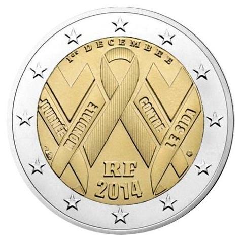 """Frankrijk 2 Euro """"AIDS"""" 2014 UNC"""