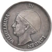 Originele Zilveren 1 Gulden 1940 ' Wilhelmina in Londen'