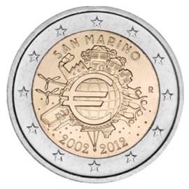 """San Marino 2 Euro """"10 Jaar Euro"""" 2012"""