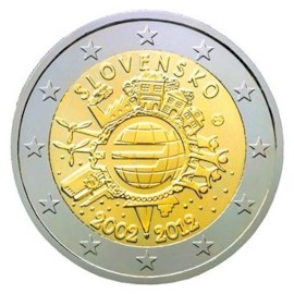 """Slowakije 2 Euro """"10 Jaar Euro"""" 2012"""
