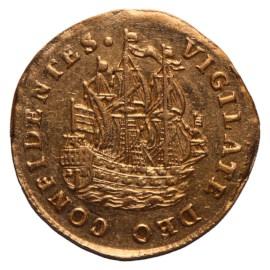 Scheepjesschelling 1738 Holland Gouden afslag Zfr+
