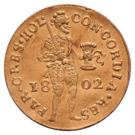 Gouden Dukaat Holland 1802 Zfr+