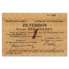 """1 Gulden """"Zilverbon"""" 1914 ZFr+"""
