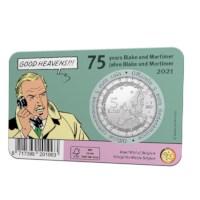 België 5 euromunt 2021 '75 jaar Blake en Mortimer' reliëf BU in coincard