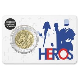 """Frankrijk 2 Euro """"Medisch Onderzoek"""" 2020 Coincard Helden"""