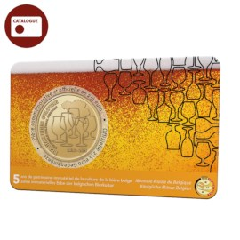 "Belgium 2.5 Euro Coin 2021 ""5 Years of Belgian Beer Culture Intangible Heritage"" BU in Coincard FR"
