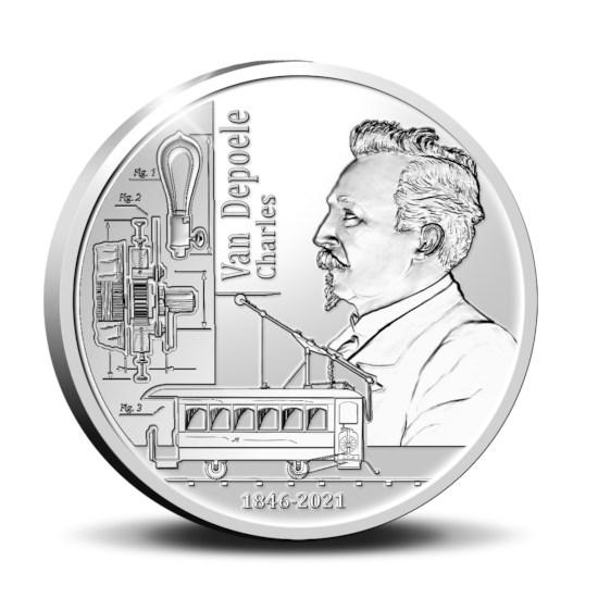 5 euromunt België 2021 '175 jaar Charles Van Depoele' Zilver Proof