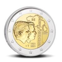 2 euromunt België 2021 '100 jaar BLEU' BU in coincard FR