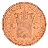 Gouden 10 Gulden Wilhelmina 1912 Pr+