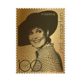 St. Maarten Gold Stamp Queen Máxima