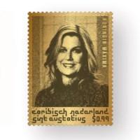 St. Eustatius Gouden Postzegel Koningin Máxima