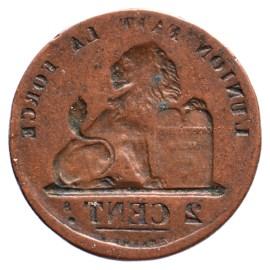 2 Centiem type 1883-1919, incuus geslagen