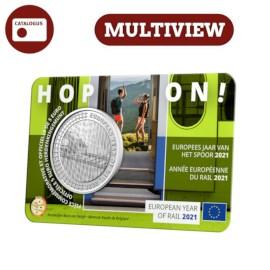 Pièce de 5 euros Belgique 2021 « Année européenne du rail 2021 » BU multi-vue dans une coincard