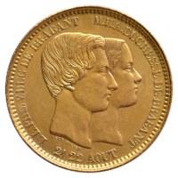 Module 10 Centiem 1853 Leopold I Pr+ Verguld