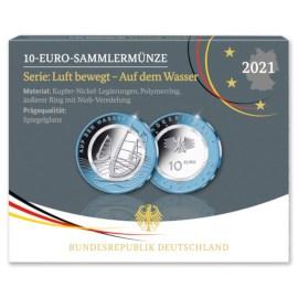 """Duitsland 5 x 10 Euro """"Wasser"""" 2021 Proof"""