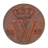 1/2 cent 1859 Willem III FDC-