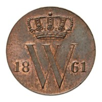 1/2 Cent 1861 Willem III FDC